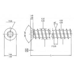 STRONG euroskrutka 6,3x13/7 zápustná hlava 7mm zinek T20