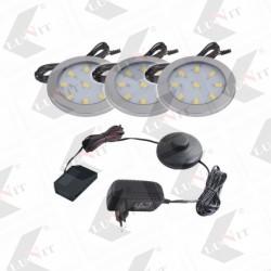 LED ORBIT XL sada 3 x svietidlo, biela studena, fi 60mm, OFF/ON, 3x3W, 840 lm, trafo, chrom matny