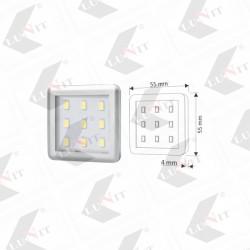 LED SQUARE biela studena, 4x55x55 mm, 1,5W, 90 lm, chrom matny