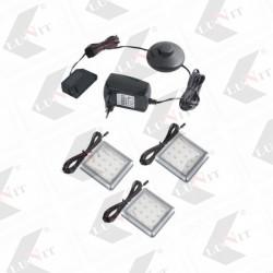 LED SQUARE sada 3 x svietidlo, 4x55x55 mm, 3x1,5W,