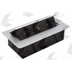 Elektrický rozvod výklopný KOMBI, 2 zásuvky SK, 2xUSB, s napájacím káblom, chróm matný