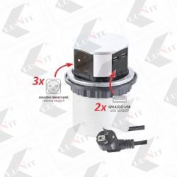 Elektricky rozvod vysuvny TETRA, 3 zasuvka Schuco-HU, 2xUSB, s napajacim kablom, 3600W, chrom matny,...